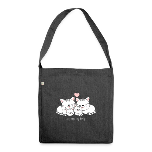 catfamily - Schultertasche aus Recycling-Material