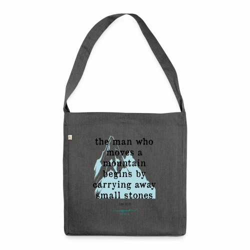 Confucius` Quote - The man who moves a mountain - Shoulder Bag made from recycled material