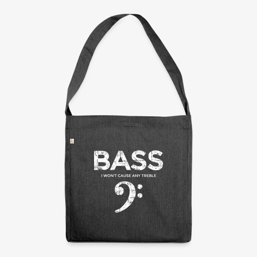 BASS I wont cause any treble (Vintage/Weiß) - Schultertasche aus Recycling-Material