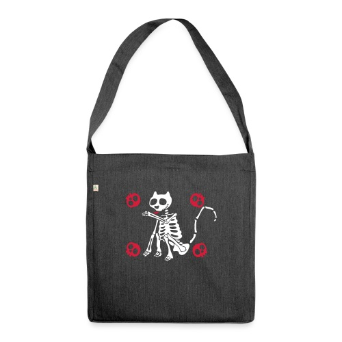 Katzen Skelett - Schultertasche aus Recycling-Material