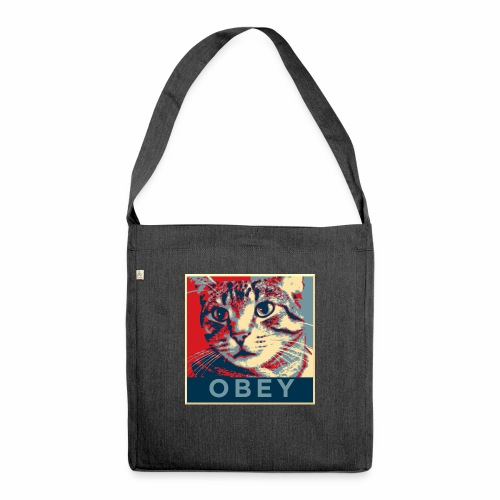 Obey the Cat! - Schultertasche aus Recycling-Material