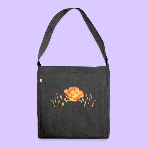 Rose, Herzschlag, Rosen, Blume, Herz, Frequenz - Schultertasche aus Recycling-Material