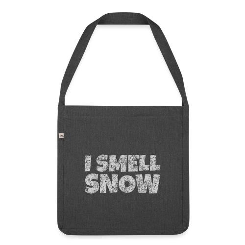 I Smell Snow (Grau) Schnee, Winter, Wintersport - Schultertasche aus Recycling-Material