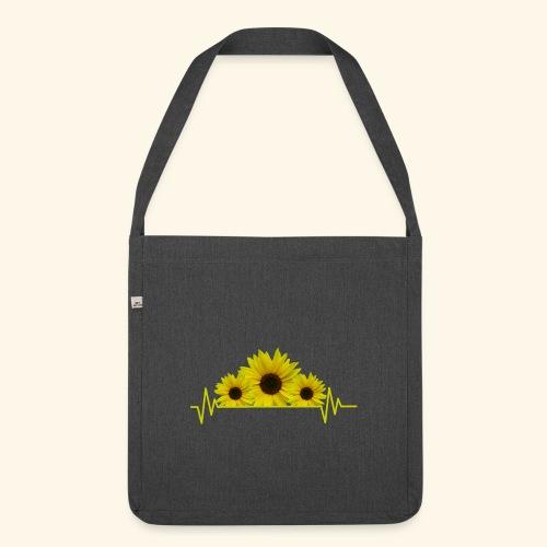 Sonnenblumen Herzschlag Sonnenblume Blumen Blüten - Schultertasche aus Recycling-Material