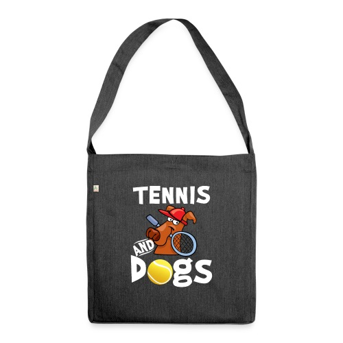 Tennis And Dogs Funny Sports Pets Animals Love - Schultertasche aus Recycling-Material