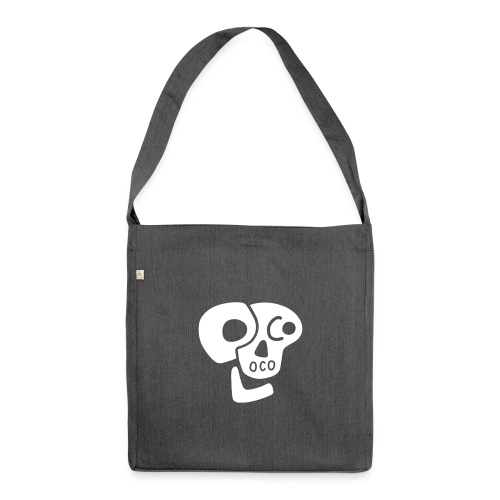Poco Loco skull logo white - Shoulder Bag made from recycled material