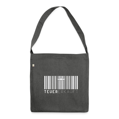 Teuer Erkauft Barcode Jesus Kreuz - Christlich - Schultertasche aus Recycling-Material
