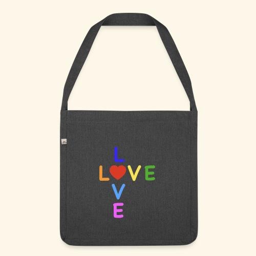 Rainbow Love. Regenbogen Liebe - Schultertasche aus Recycling-Material