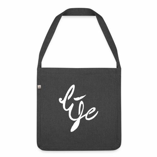 Life Logo simple white - Sac bandoulière 100 % recyclé