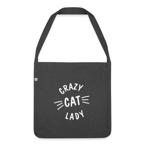 Vorschau: Crazy Cat Lady meow - Schultertasche aus Recycling-Material