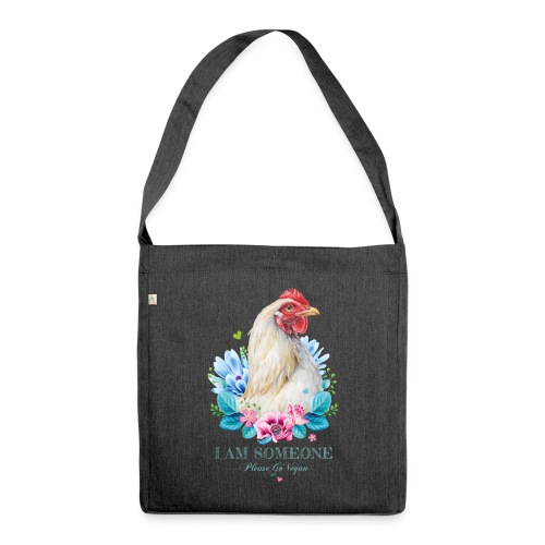Hen with flowers - Shoulder Bag made from recycled material