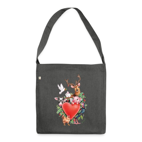 Christmas heart by Maria Tiqwah - Shoulder Bag made from recycled material