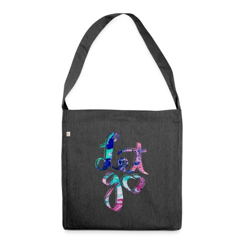 Let go fluid painting - Schultertasche aus Recycling-Material