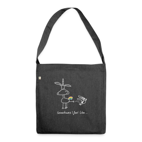 Dru - sometimes I feel like... (weisse Outline) - Schultertasche aus Recycling-Material