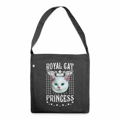 26 Royal Cat Princess white feine weiße Katze - Schultertasche aus Recycling-Material