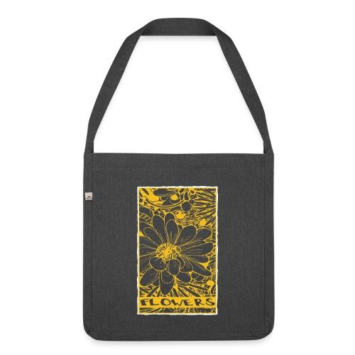 bloemen geel wit - Schoudertas van gerecycled materiaal
