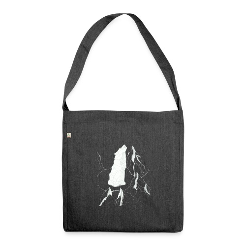howling geometric wolf - Schultertasche aus Recycling-Material