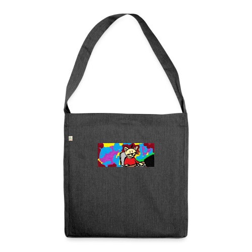 Working cat - Schultertasche aus Recycling-Material