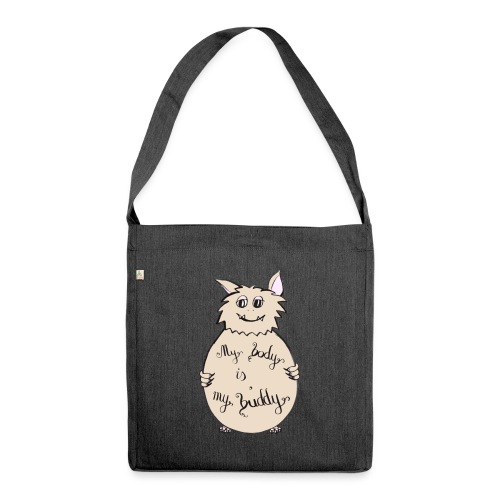 My body is my buddy - freundliches Monster - Schultertasche aus Recycling-Material