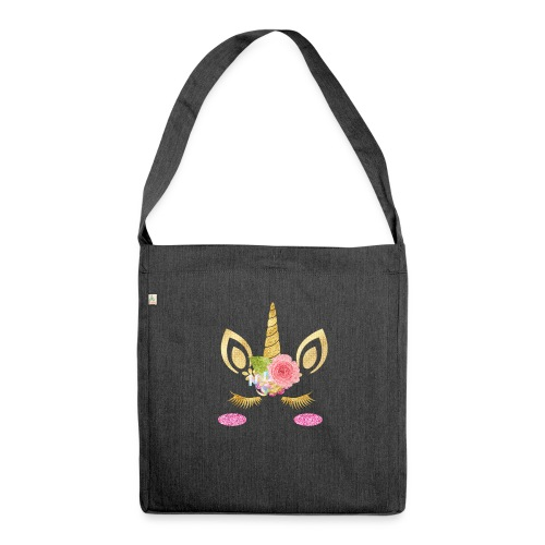 unicorn face - Schultertasche aus Recycling-Material
