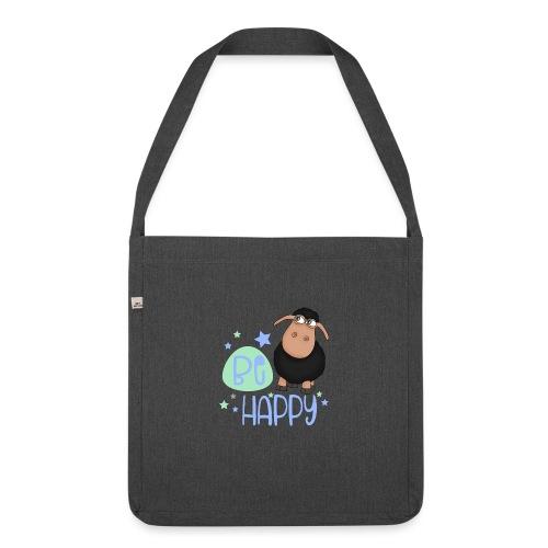 Schwarzes Schaf - Be happy Schaf - Glücksbringer - Schultertasche aus Recycling-Material