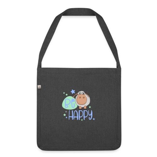 Be happy Schaf - Glückliches Schaf - Glücksschaf - Schultertasche aus Recycling-Material