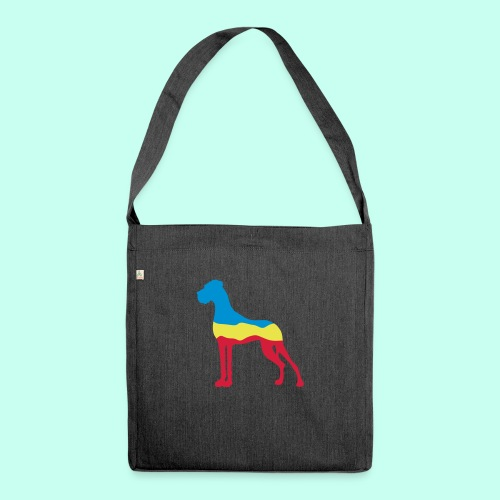 Flaggen Dogge - Schultertasche aus Recycling-Material
