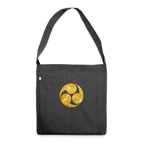 Kobayakawa Mon Japanese clan gold on black - Shoulder Bag made from recycled material