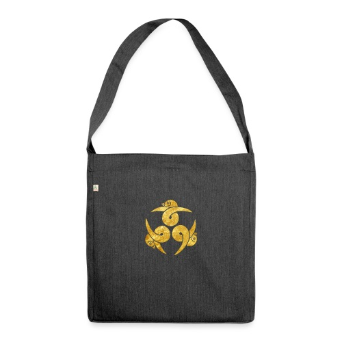 Three Geese Japanese Kamon in gold - Shoulder Bag made from recycled material