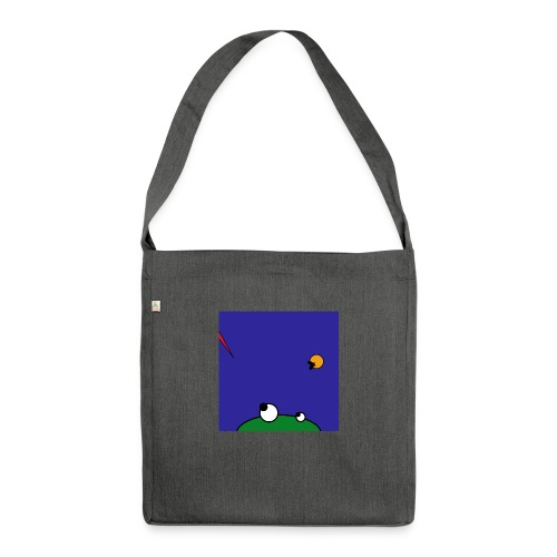 Hungry Frog - stork attack - Schultertasche aus Recycling-Material