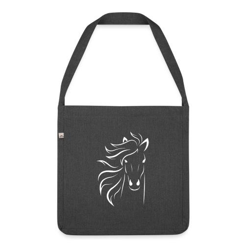 pferd silhouette - Schultertasche aus Recycling-Material