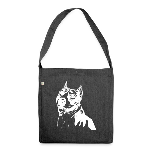 Pitbull Symbol Hund Hunde Haustier Welpe - Schultertasche aus Recycling-Material