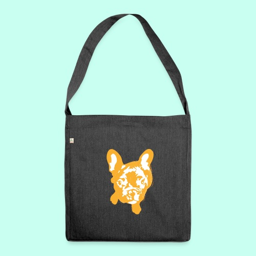 Bulldogge Beige schauend - Schultertasche aus Recycling-Material