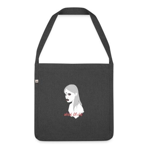 dark t shirt design female - Bandolera de material reciclado