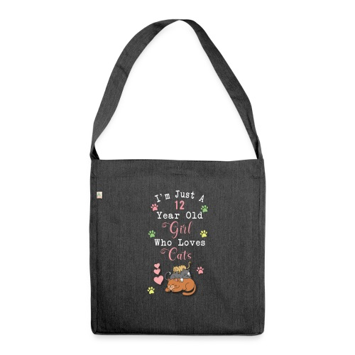 I'm just a 12 year old girl who loves cats - Sac bandoulière 100 % recyclé