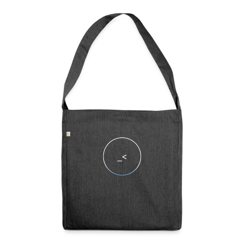 White and white-blue logo - Shoulder Bag made from recycled material