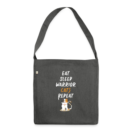 Eat sleep warrior cats repeat - Sac bandoulière 100 % recyclé