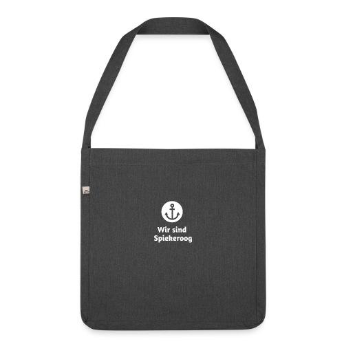 Wir sind Spiekeroog Logo weiss - Schultertasche aus Recycling-Material
