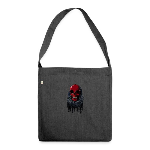 RED Skull in Chains - Shoulder Bag made from recycled material