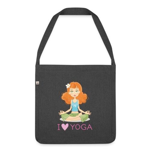 Yoga Lotus Pose Cartoon Girl - Schultertasche aus Recycling-Material