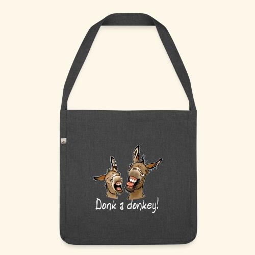 Ane Donk a donkey (texte blanc) - Sac bandoulière 100 % recyclé