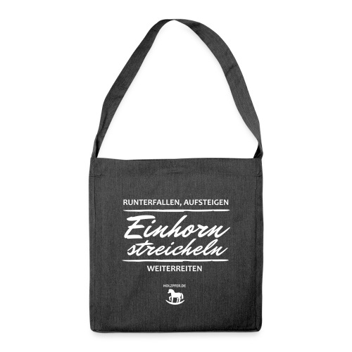 Einhorn streicheln - Schultertasche aus Recycling-Material