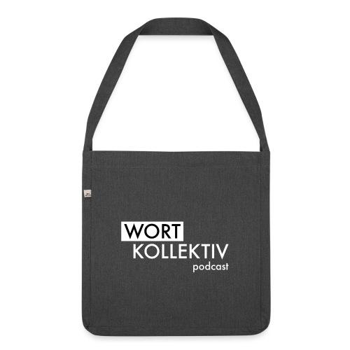 Wortkollektiv Schriftzug weiß - Schultertasche aus Recycling-Material
