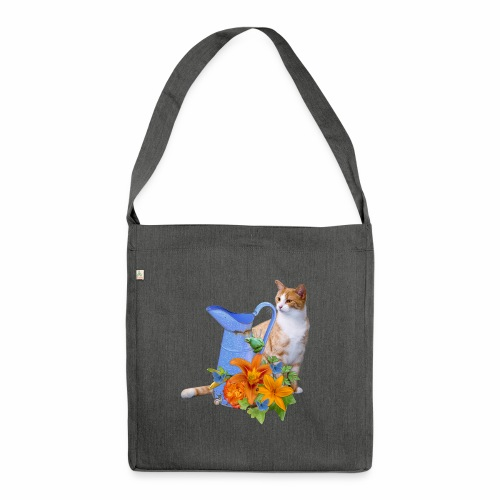 CAT AND FLOWERS - Borsa in materiale riciclato