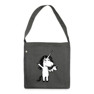 Unicorn with his happy friend - Shoulder Bag made from recycled material
