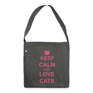 Keep Calm and Love Cats - Pink - Shoulder Bag made from recycled material