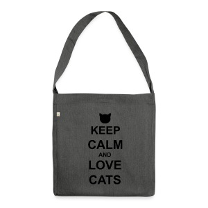 Keep Calm and Love Cats - Black - Shoulder Bag made from recycled material
