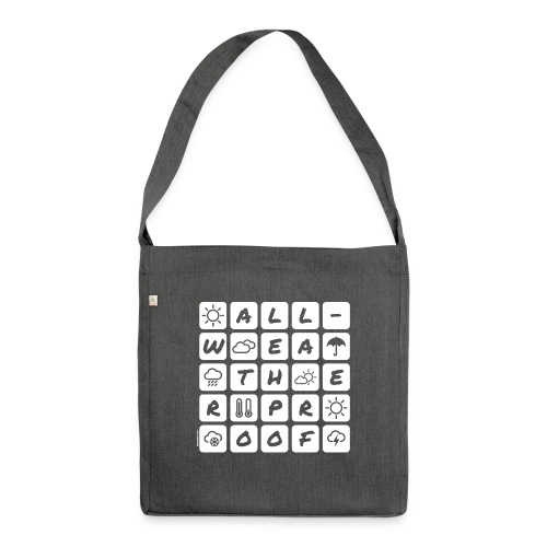 Outdoor - all-weather proof / white-on-black - Schultertasche aus Recycling-Material