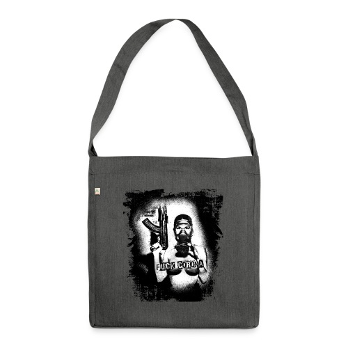 masked girl with AK - FUCK CORONA 4 white clothes - Schultertasche aus Recycling-Material