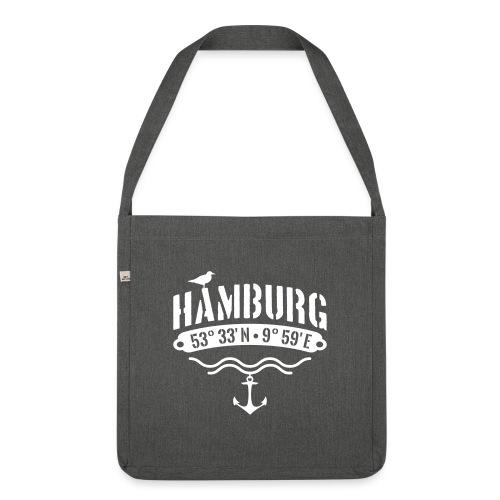 Hamburg Koordinaten Anker Möwe Längengrad - Schultertasche aus Recycling-Material